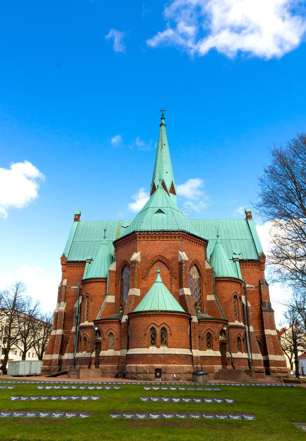 The red-brick church of Kotka, Finland royalty free stock images
