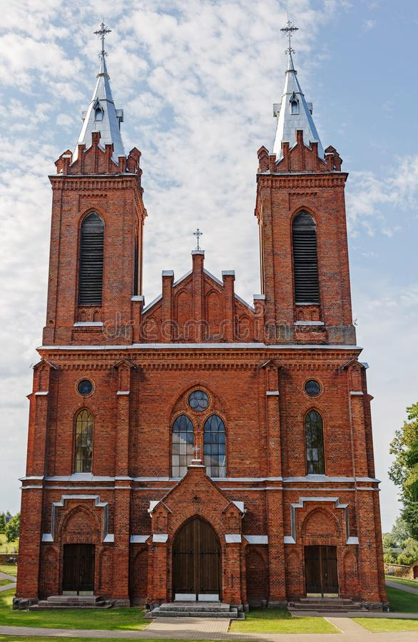 Free Red Brick Church With Two Towers In Lithuania Royalty Free Stock Photo - 157047095