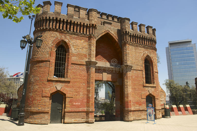 Red brick fort at Santa Lucia hill exterior in Santiago, Chile. royalty free stock images