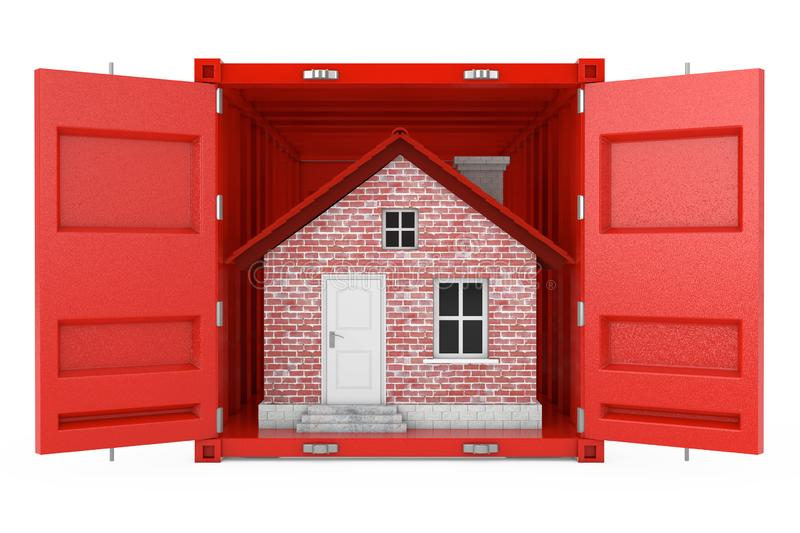 Red Brick House in Red Cargo Shipping Container. 3d Rendering. Red Brick House in Red Cargo Shipping Container on a white background. 3d Rendering vector illustration