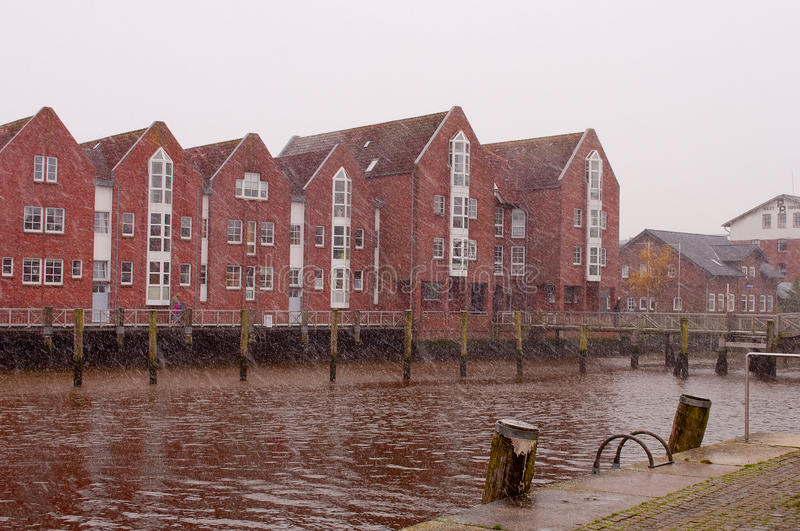 Download Red Brick Houses On A Riverside. North Sea, Husum, Germany Stock  Image