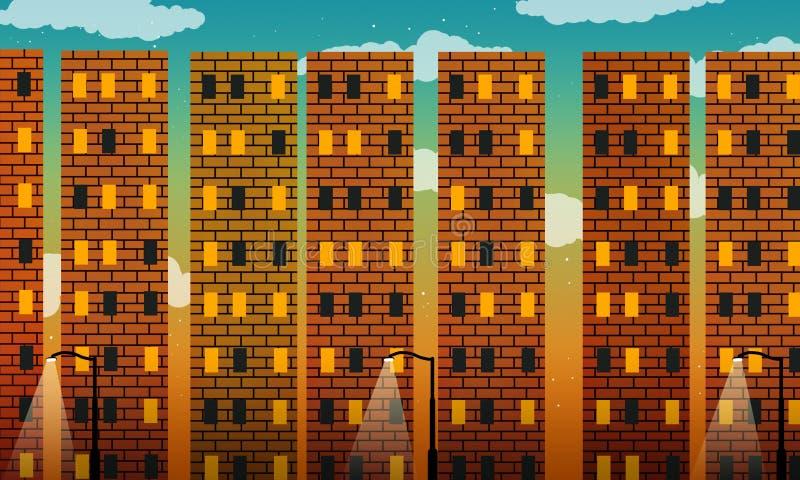 Red brick metropolis. At sunset royalty free illustration