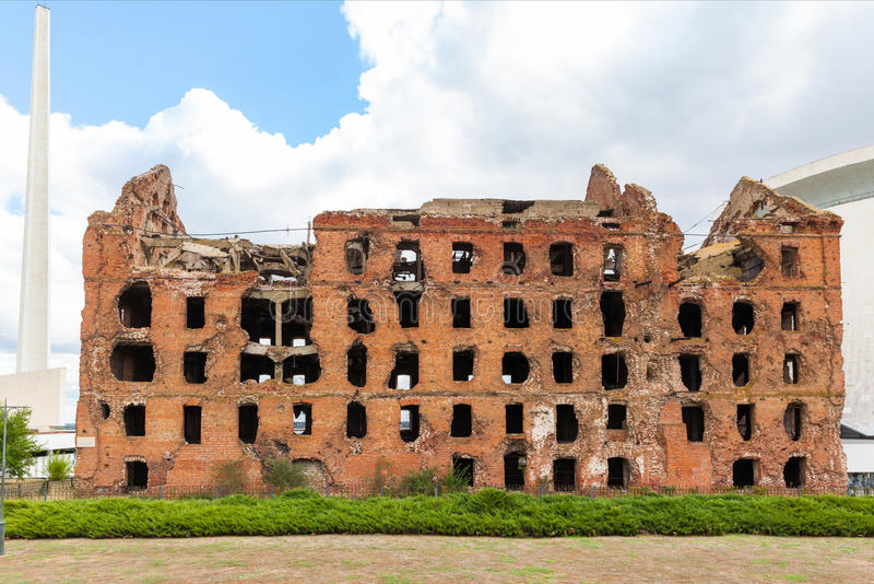 Red brick mill, ruined during the World War 2. As a war monument in a center of Volgograd, former Stalingrad royalty free stock photography