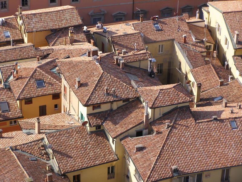 Download Red brick roofs stock photo. Image of asinelli, constructions - 11495842