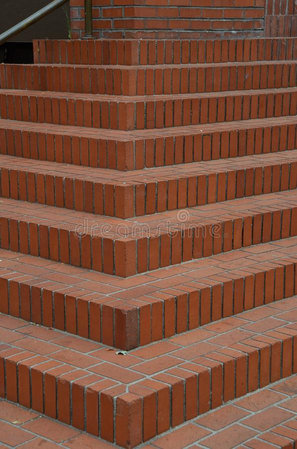 Red brick stairs in Portland, Oregon`s Courthouse Square. These are red brick stairs in Pioneer Courthouse Square in downtown Portland, Oregon royalty free stock images
