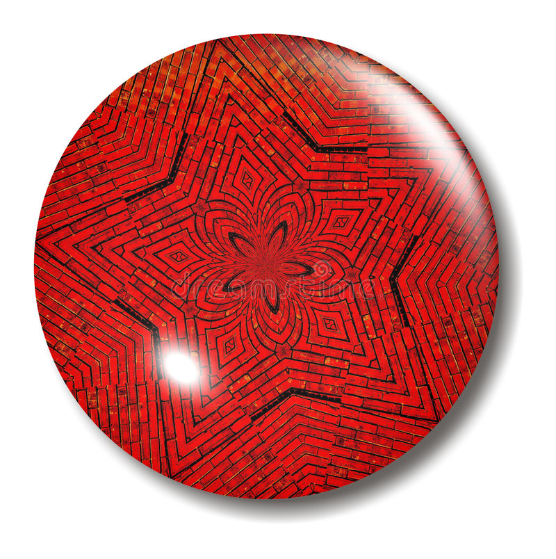 Red Brick Star Button Orb royalty free illustration