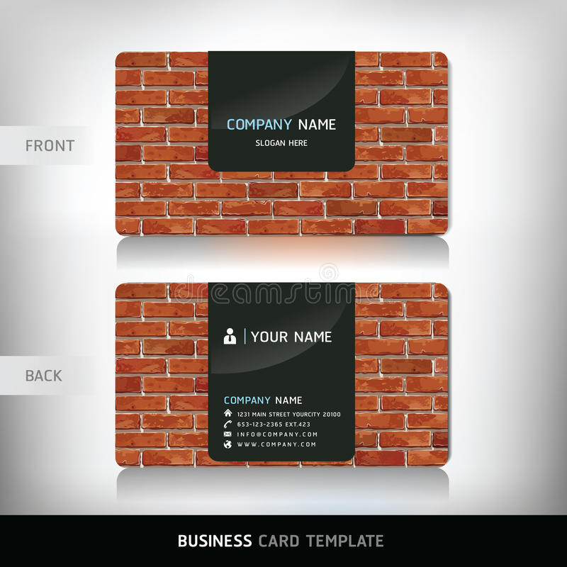 Red Brick Wall Business Card. vector illustration