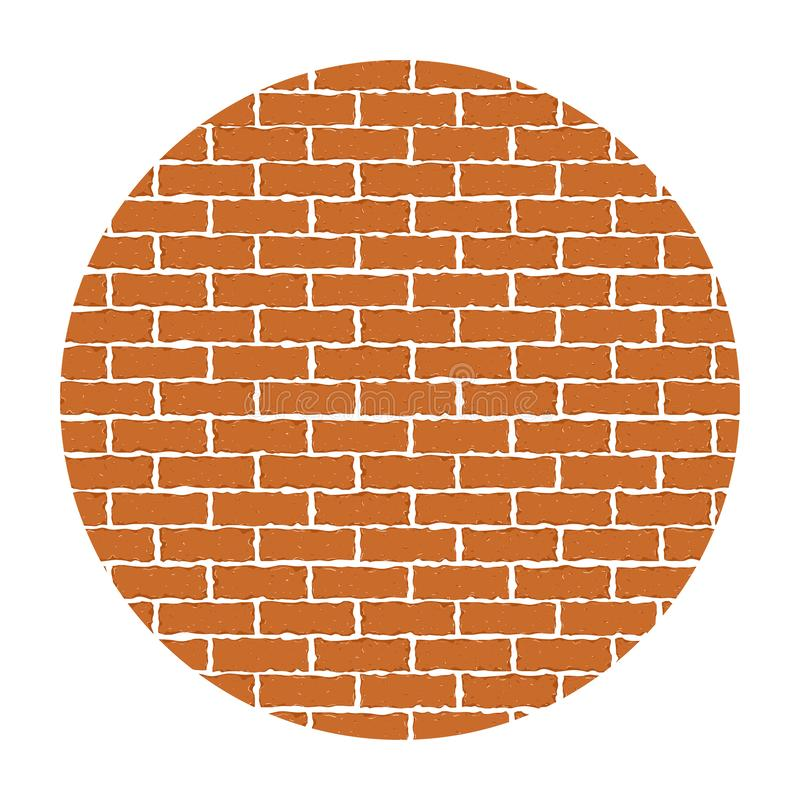 Red brick wall in circle. Vector illustration background. EPS 10 stock illustration