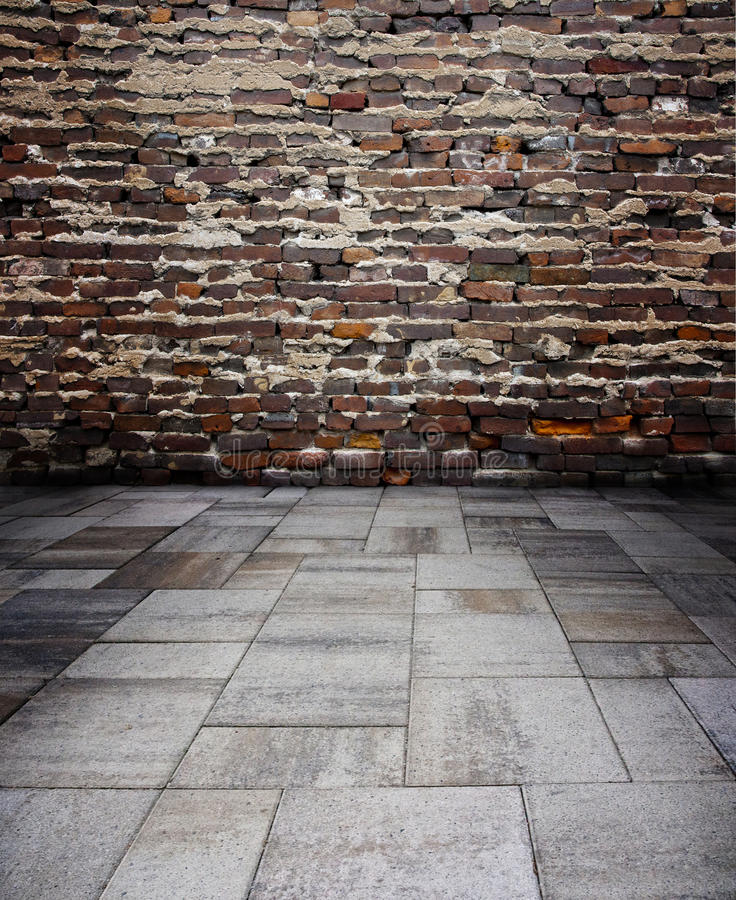 Red Brick wall with concrete royalty free stock photos