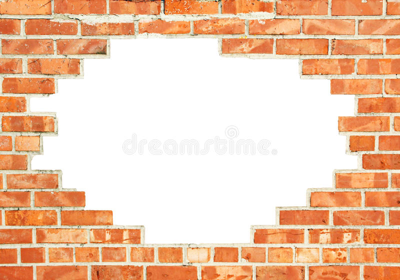Red brick wall with gap. Red brick wall with white break through, background design royalty free stock image