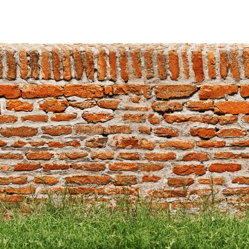 Red brick wall with green grass isolated on white stock photos