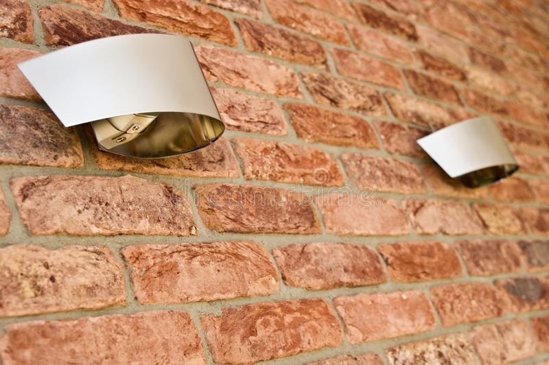 Red brick wall and modern light abstract detail stock photos