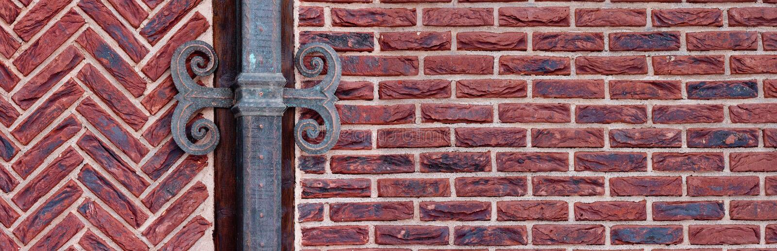 Red brick wall with shod deco. R panoramic royalty free stock image