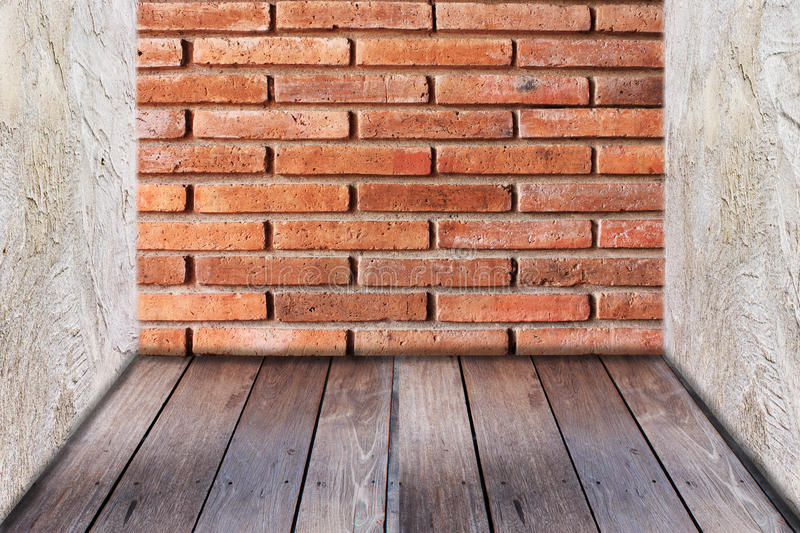 Red brick wall texture and wood floor stock images