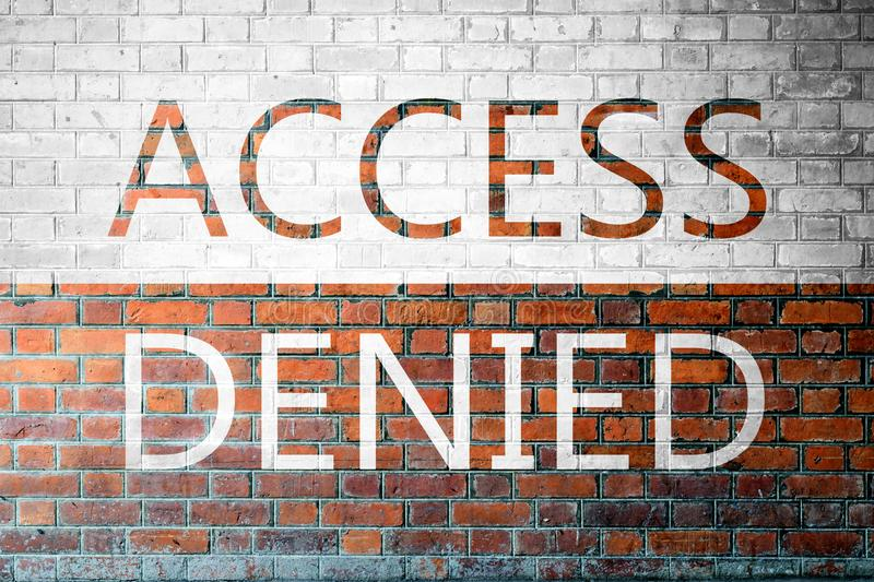 Red Brick wall texture with a word Access Denied. Red Brick wall texture background with a word Access Denied royalty free stock photos