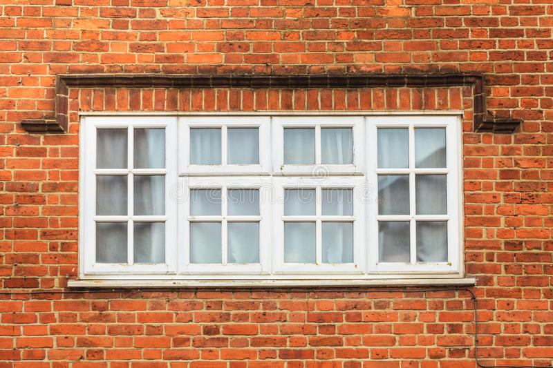Download Red Brick Wall With White Window Stock Image - Image of detail, wall: 83711795