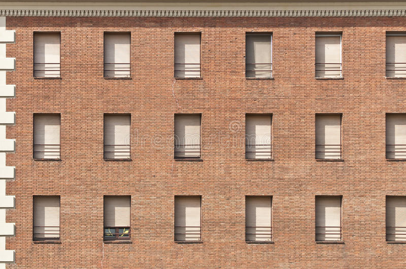 Download Red Brick Wall With White Windows Pattern. Stock Image - Image: 17263301
