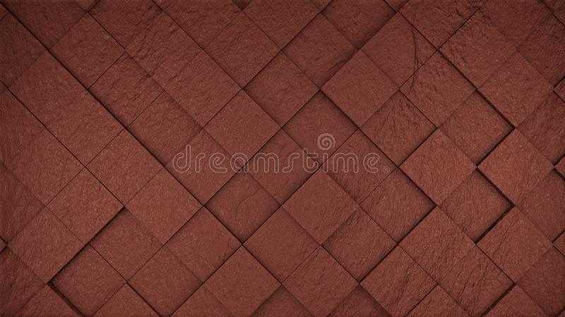 Red bricks cubes wall background, 3d render royalty free illustration