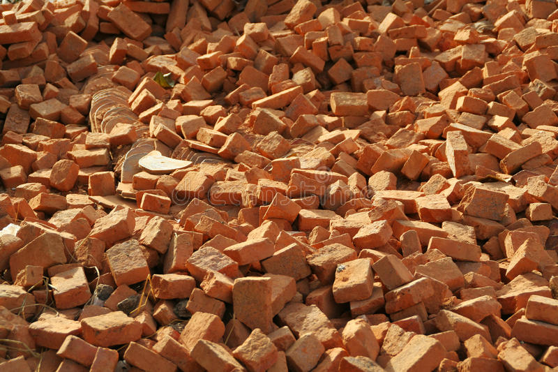 Download Red bricks pile stock photo. Image of construction, demolition - 25548358