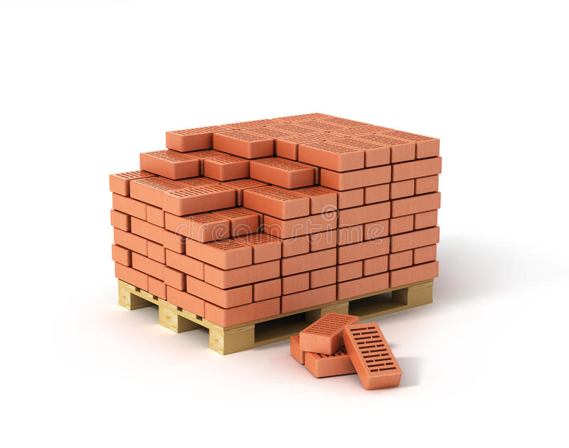 Red bricks stacked on wooden pallet. On white background stock illustration