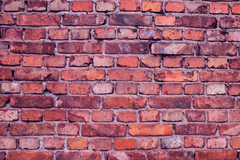Red bricks wall background. Old building surface. Red vintage bricks wall background. Old building surface royalty free stock photos