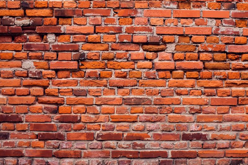 Red bricks wall background. Old building surface. Red vintage bricks wall background. Old building surface royalty free stock photography