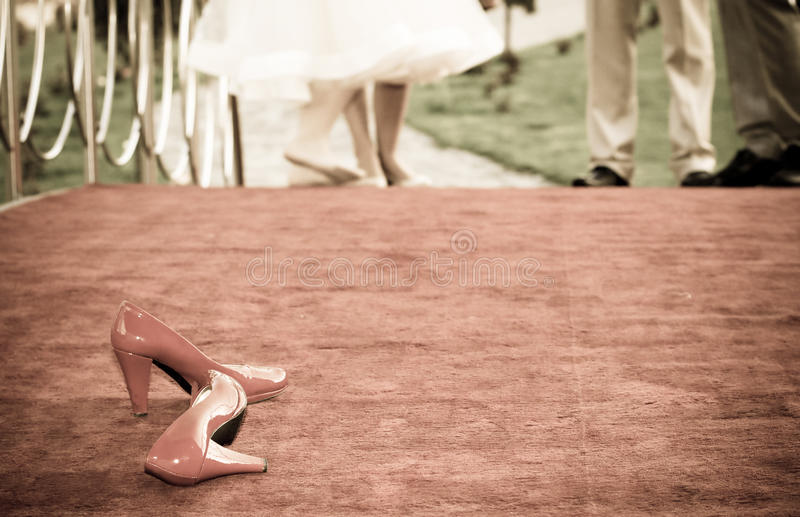 Download Red bridal shoes a stock image. Image of pair, romantic - 24705767