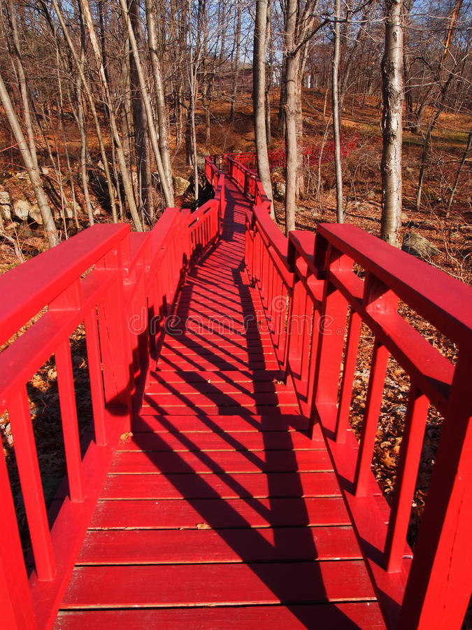 Red bridge in the forest (fall)