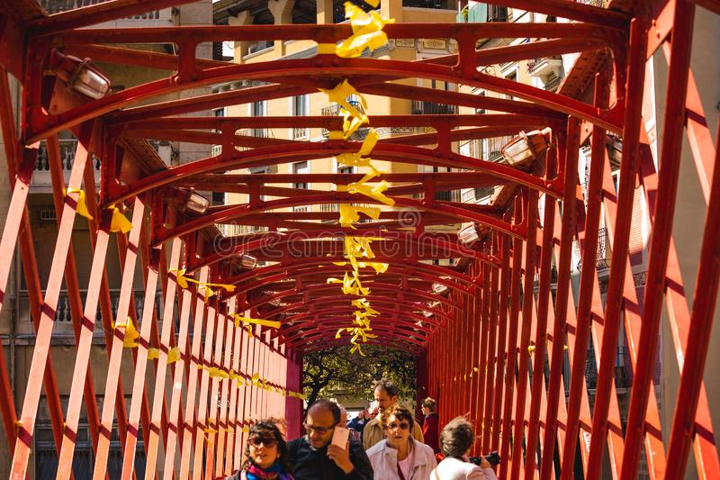 Red Bridge in Girona, Spain stock photos