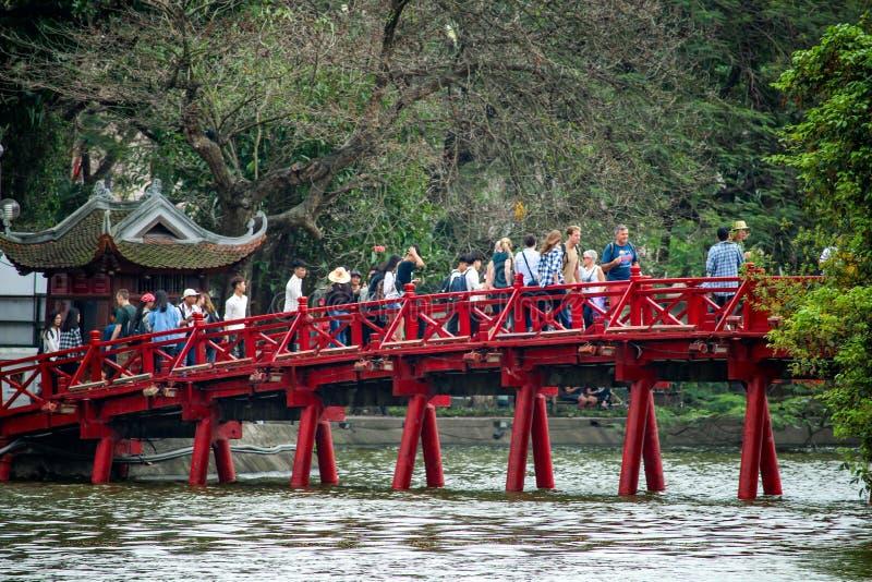 Red Bridge Hoan Kiem Lake Hanoi stock image