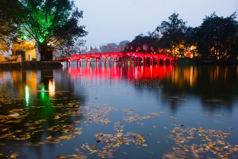 Red Bridge in Hoan Kiem Lake stock photos
