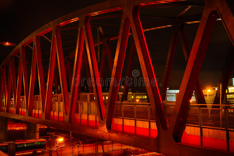 Red bridge at night stock photography