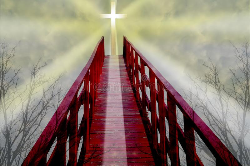 Red bridge over the black forest to the cross againt the sky for background. And inspration royalty free stock image