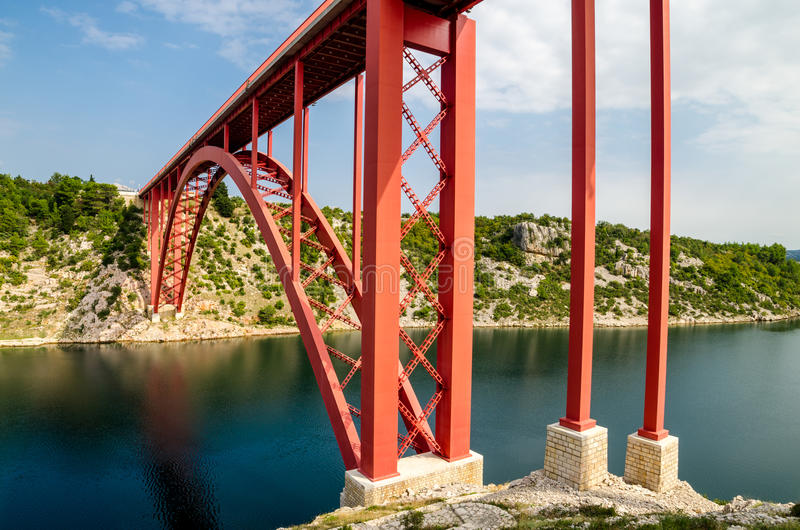 Red bridge royalty free stock images