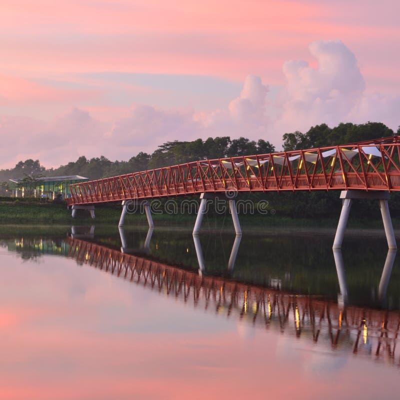 Red Bridge Pink Sky royalty free stock image