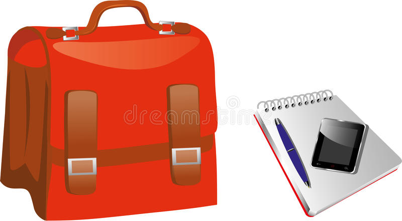 Red Briefcase. Bag with Notepad and Cell Phone. EPS 10 file for this illustration with no open paths vector illustration