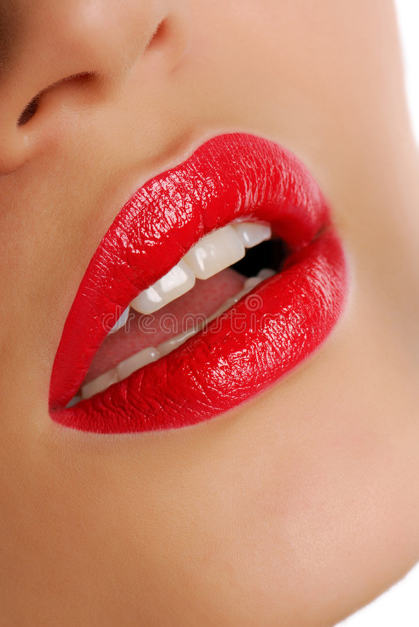 Red bright lipstick. Woman lips with Red bright lipstick royalty free stock photos