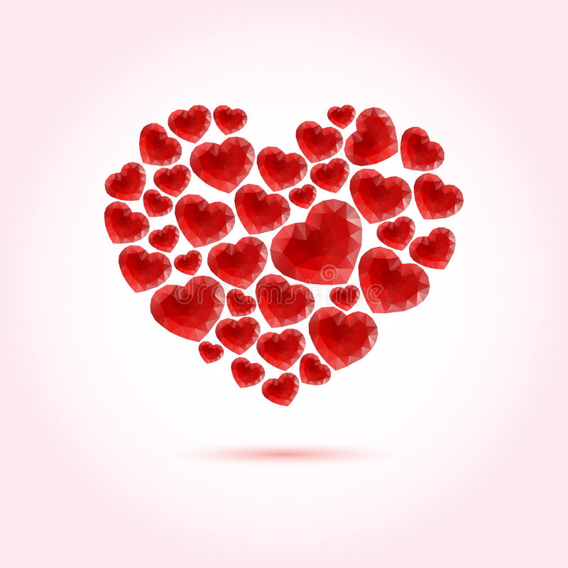 Red bright vector heart made of many polygonal hearts stock illustration