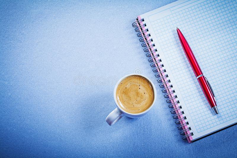 Red brio pen message pad coffee cup office concept royalty free stock images