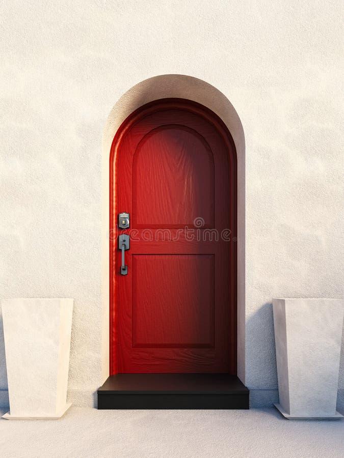 Red british house door stock images