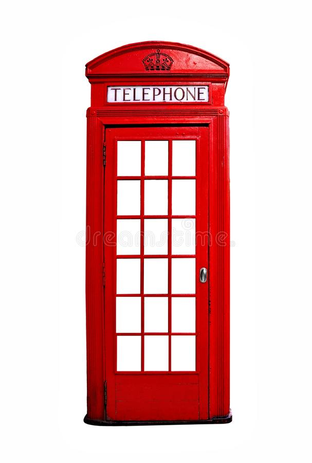Red British telephone booth isolated on white. Iconic red British telephone booth isolated on a white background royalty free stock photos