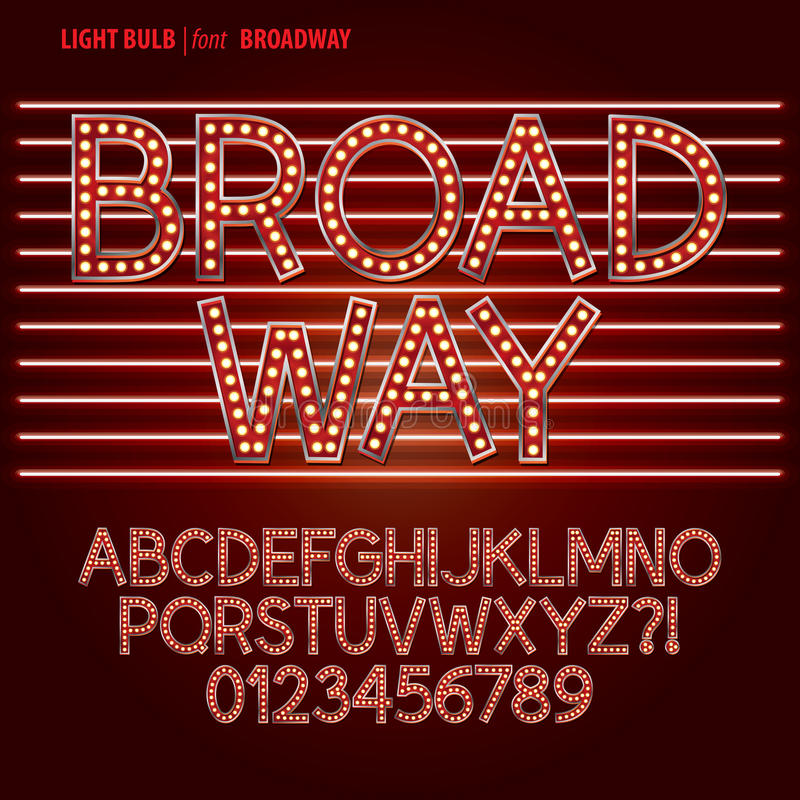 Free Red Broadway Light Bulb Alphabet And Digit Vector Royalty Free Stock Image - 37067816