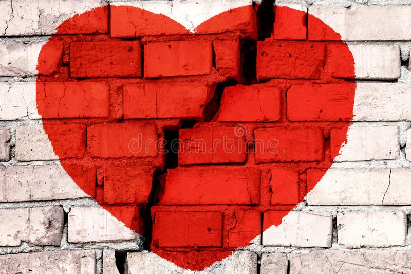 Red broken heart on the brick wall with big crack in the middle. Concept of broken love royalty free illustration