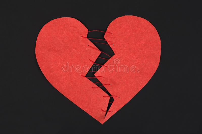Red Broken Heart On A Dark Background Stock Image Image Of Care
