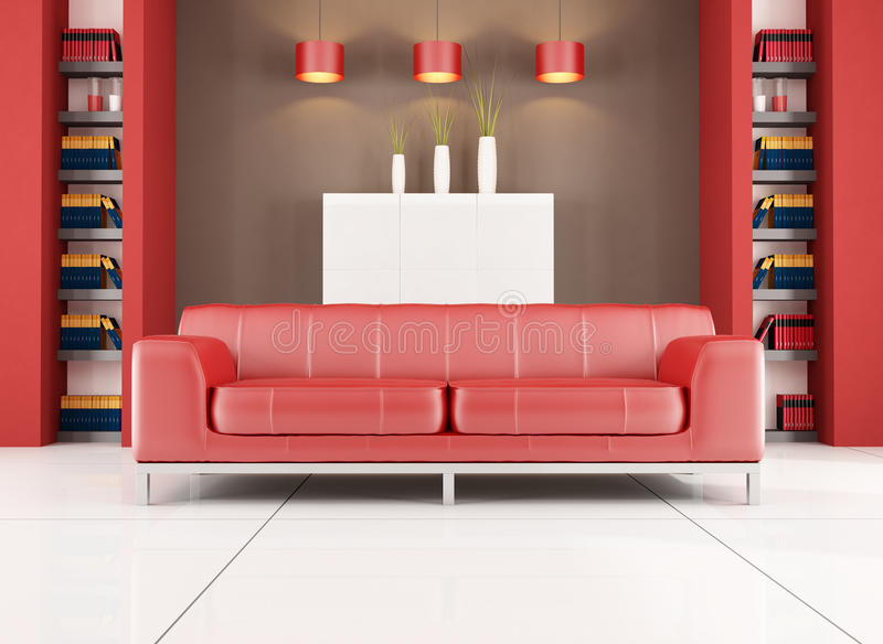 Red and brown contemporary living room vector illustration