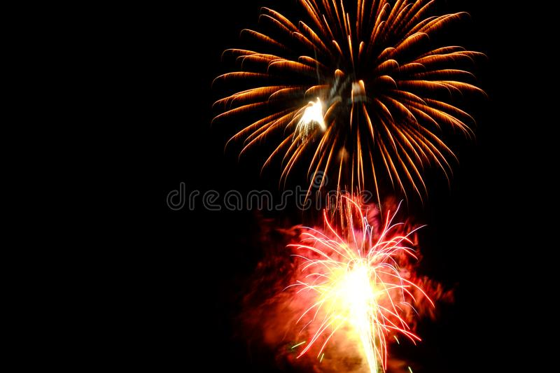 Red and Brown Fireworks Display Photo royalty free stock photo