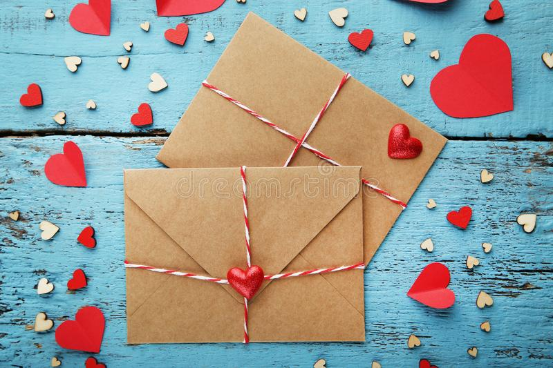 Hearts with envelopes stock photography