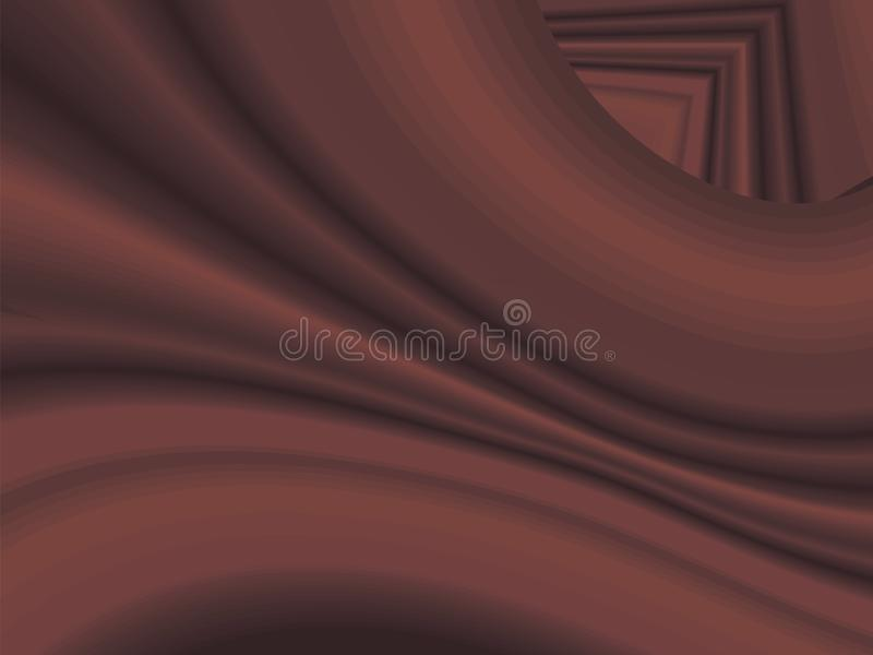 Red brown with shadows iridescent wavy vector gradient flowing curved fabric striped background abstraction royalty free illustration