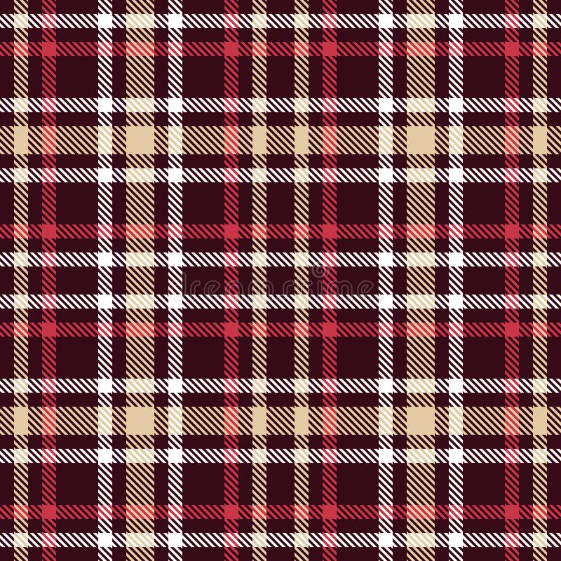 Red and brown tartan seamless vector pattern. Checkered plaid texture. Geometrical simple square dark background for fabric, textile, cloth, clothing, shirts stock illustration