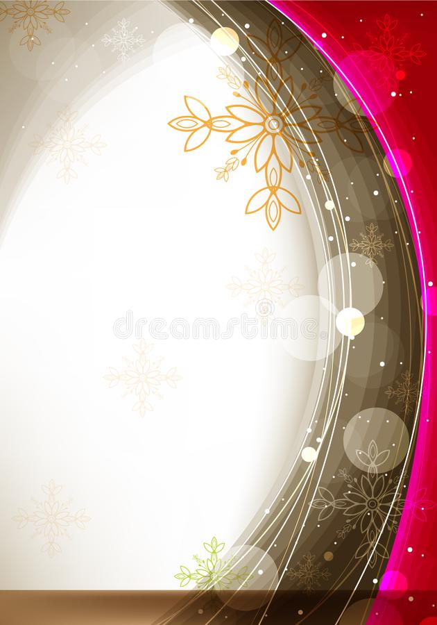 Red and Brown Wave and Floral Design royalty free stock photo